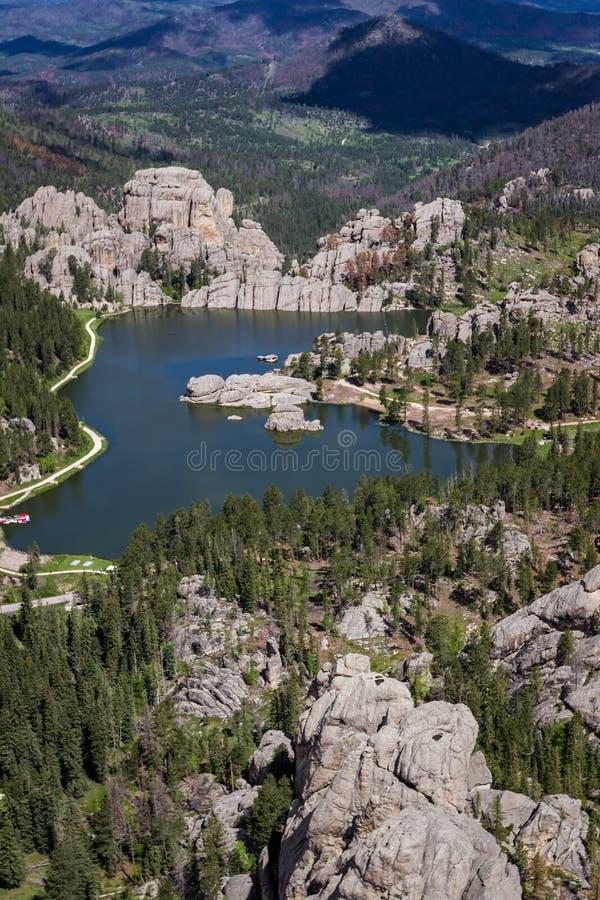 Lago silvestre, vista aerea fotografia stock