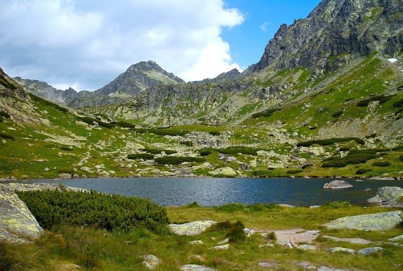 Lago sobre la cascada de Skok - caminando en el valle de Mlynicka en el alto Tatras fotos de archivo libres de regalías