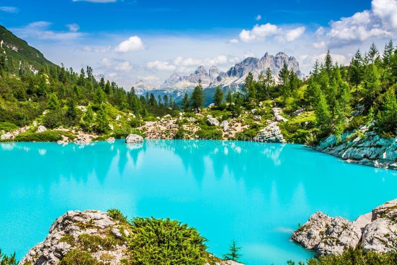 Lago Sorapis del turchese con i pini e le montagne della dolomia dentro immagini stock libere da diritti