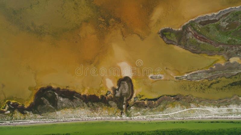 Lago sporco brown con la riva modellata colpo Vista superiore di superficie modellata delle rive paludose e del lago ammuffito di immagine stock libera da diritti