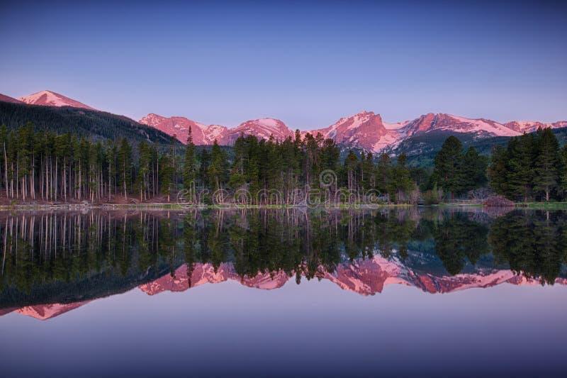 Lago Sprague, Rocky Mountain National Park foto de archivo