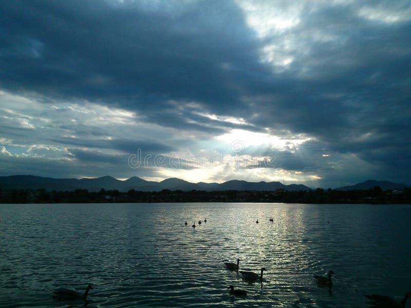 Lago sunset immagini stock
