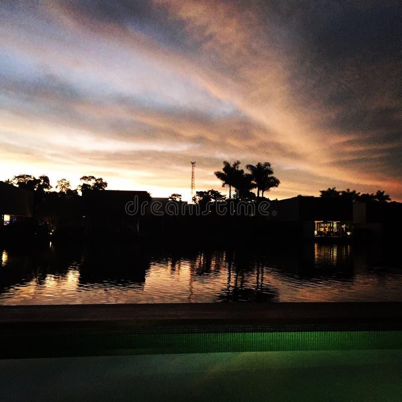 Lago sunset fotografia stock libera da diritti