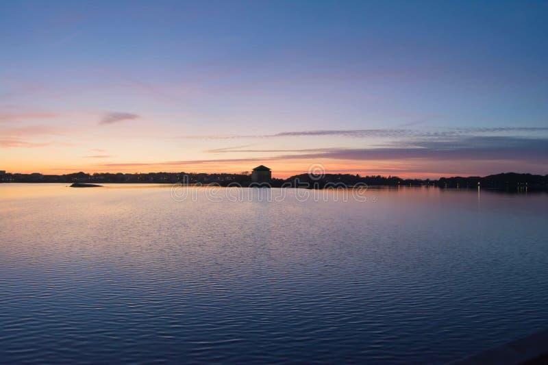 Lago sunset fotografia de stock