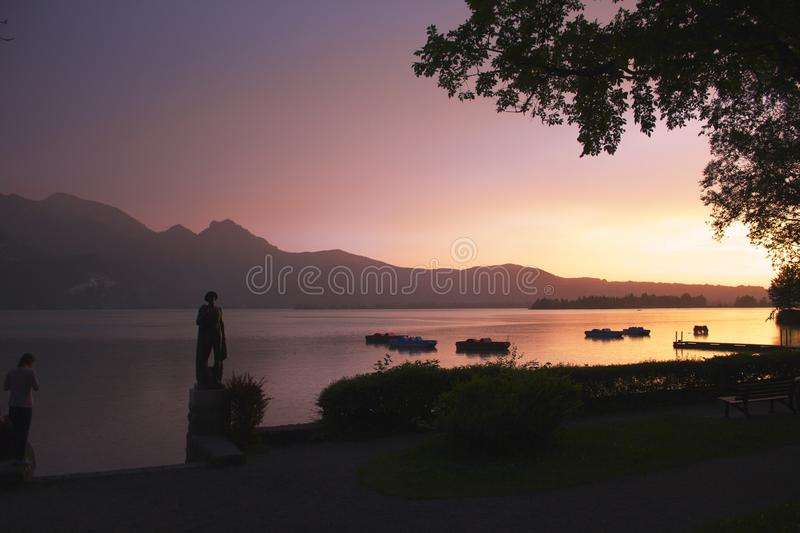Lago sunset foto de stock