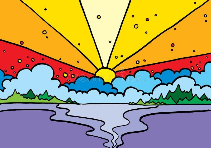 Lago sunset ilustração stock