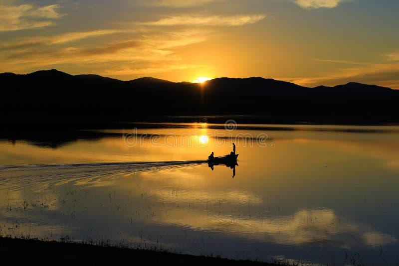 Lago sunset no verão foto de stock royalty free