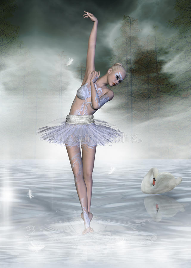 Lago swan illustrazione di stock