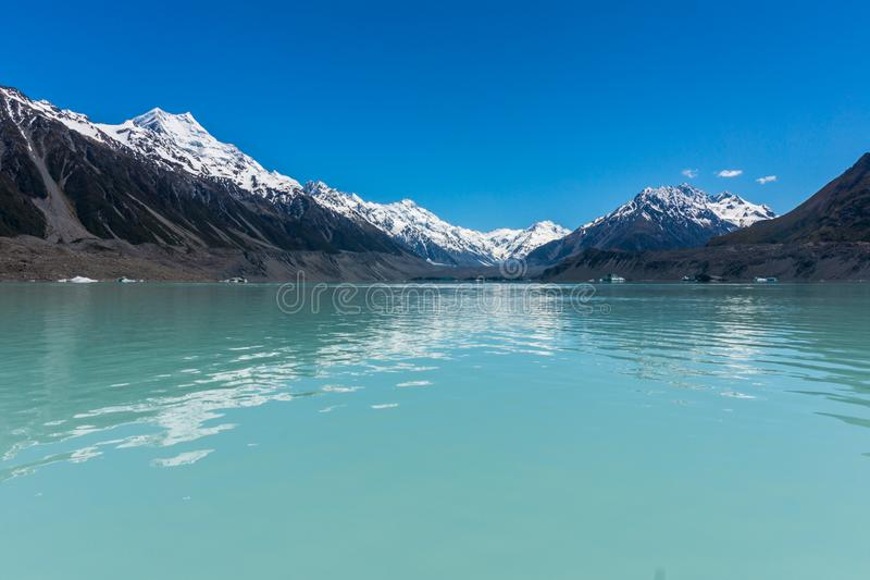 Lago Tasman, cozinheiro National Park da montagem, Nova Zelândia imagem de stock
