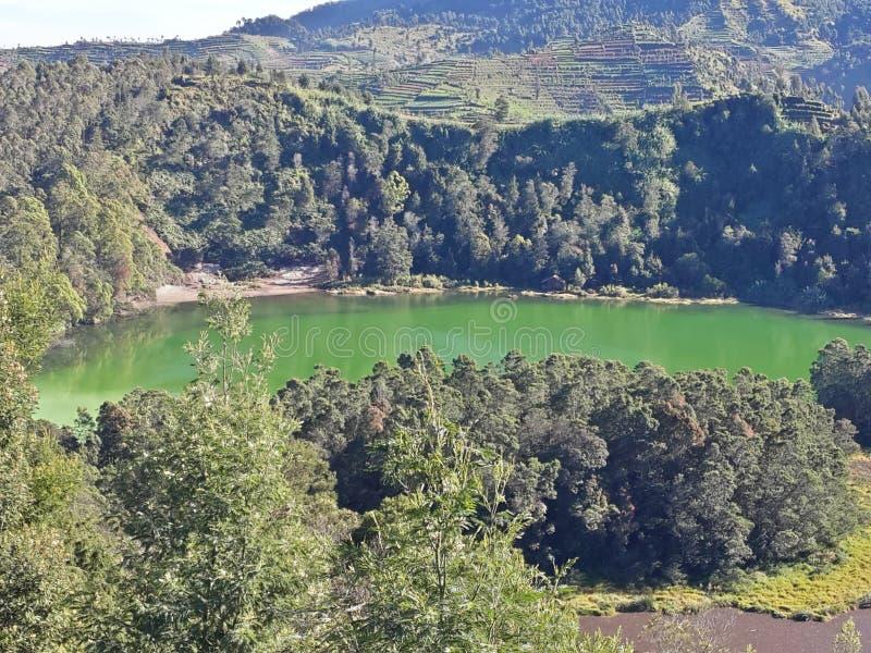 Lago Telaga Warna da montanha de Dieng imagem de stock