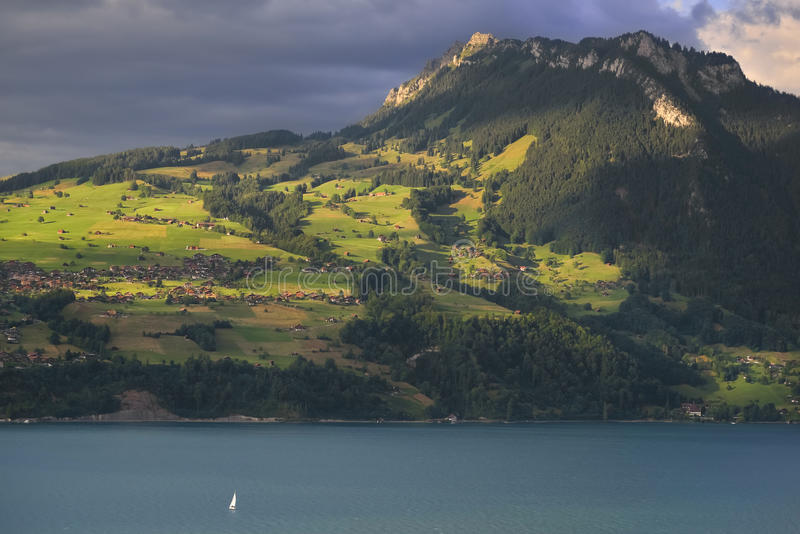 Lago Thunersee com barco switzerland imagens de stock royalty free