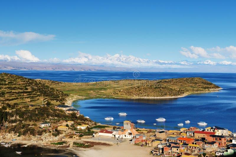 Lago Titicaca, Bolívia, paisagem de Isla del Solenóide imagem de stock royalty free