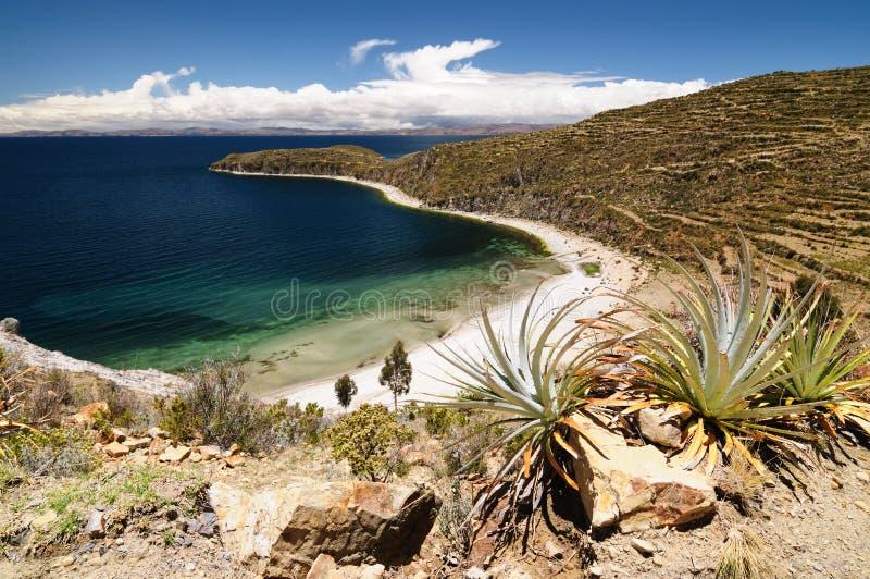 Lago Titicaca, Bolívia, paisagem de Isla del Solenóide imagem de stock