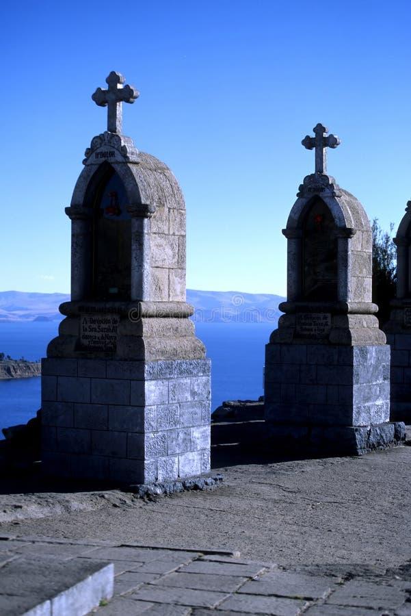Lago Titicaca, Bolivia shrines- fotos de archivo libres de regalías