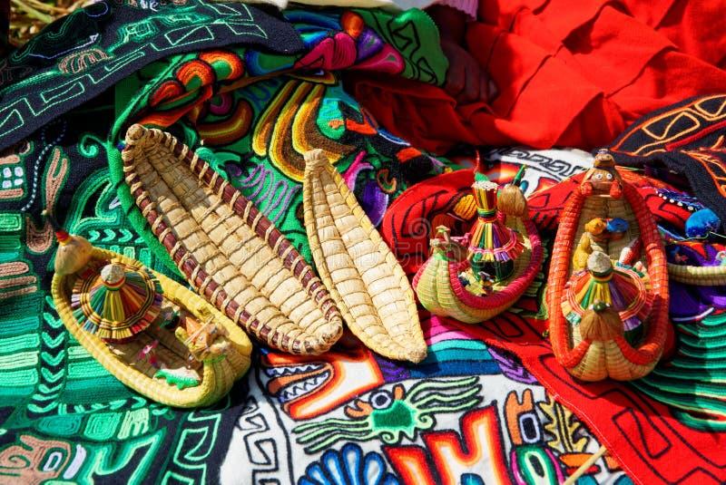 Lago Titicaca Tipical konst arkivfoto