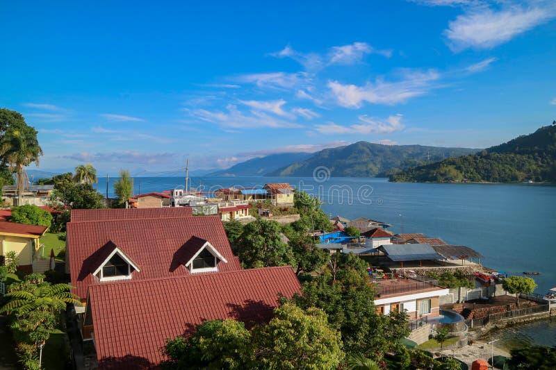 Lago Toba Indonesia di vista superiore fotografia stock libera da diritti
