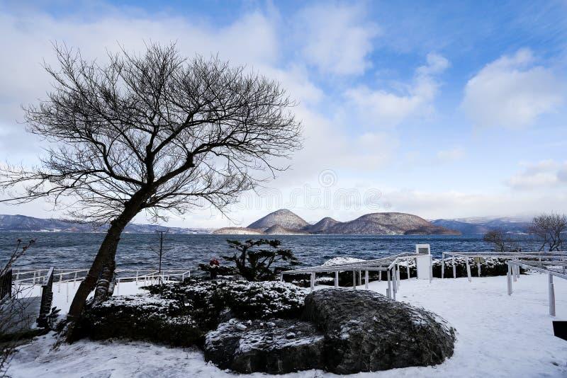 Lago Toya durante invierno fotos de archivo libres de regalías