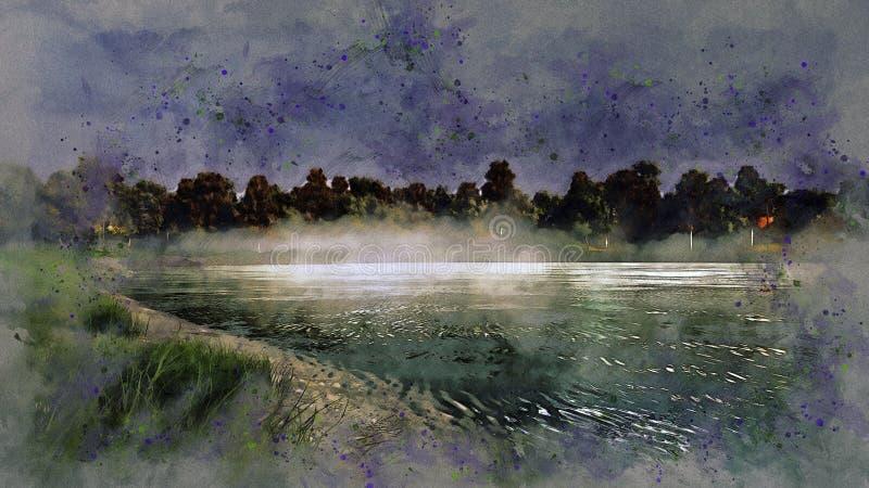 Lago tranquilo del bosque en el bosquejo de niebla de la acuarela de la noche stock de ilustración