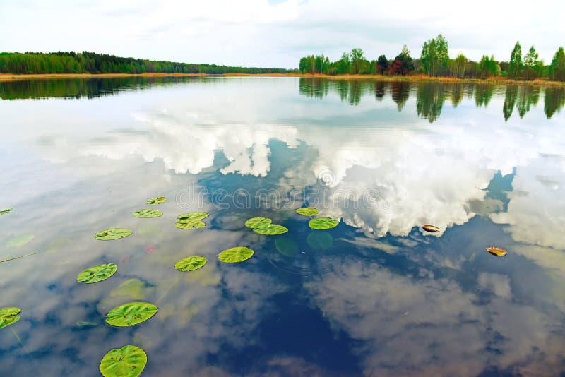 Lago tranquilo rodeado por la reflexión del bosque de las nubes de trueno en el agua fotografía de archivo