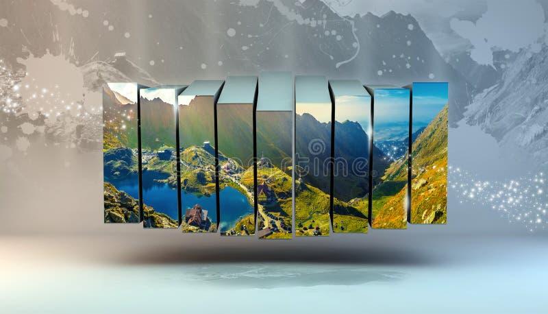 Lago Transfagarasan Balea, Rumania, marco de caja multi de la foto ilustración del vector