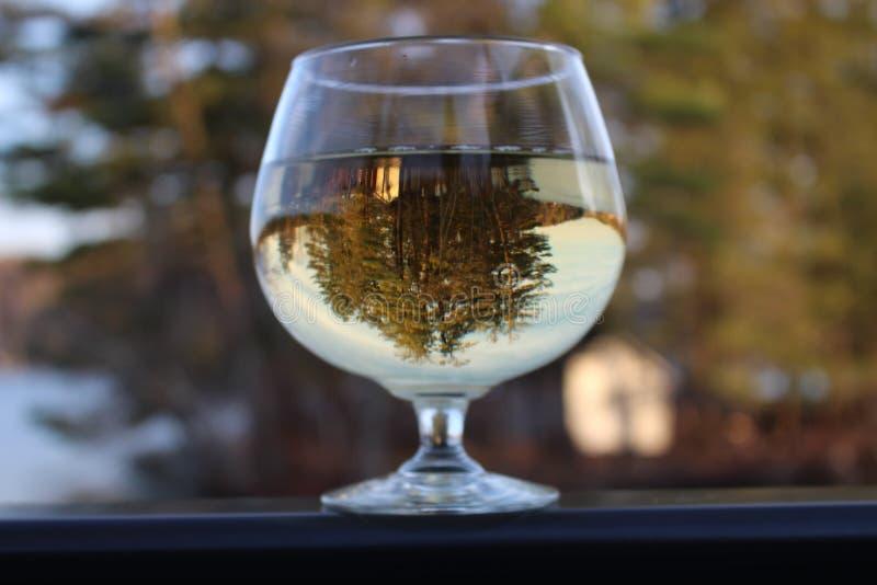 Lago a través de una copa de vino fotografía de archivo