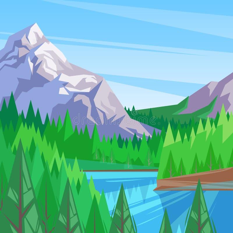 Lago in valle della montagna, illustrazione di vettore Fondo del paesaggio Fiume circondato dall'abetaia illustrazione vettoriale