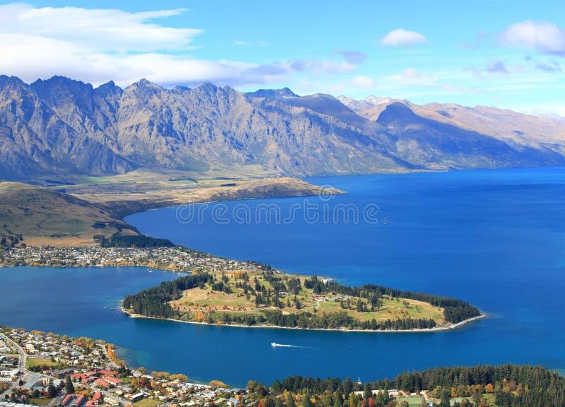 Lago Wakatipu e Queenstown foto de stock royalty free