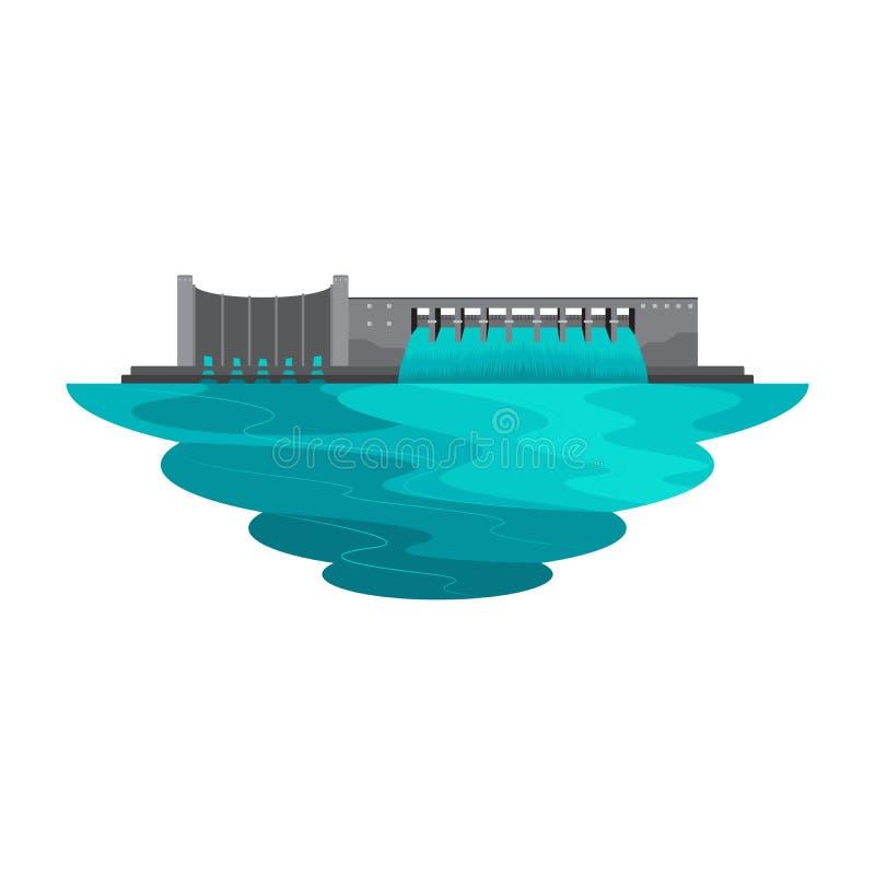 Lago water del depósito de la presa para el paisaje de la energía del poder stock de ilustración