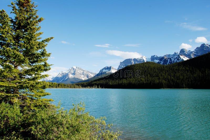 Lago waterfowl, montañas rocosas canadienses, Canadá imagenes de archivo