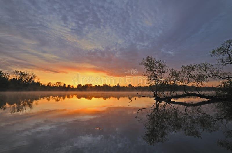 Lago Whitford do nascer do sol fotografia de stock royalty free