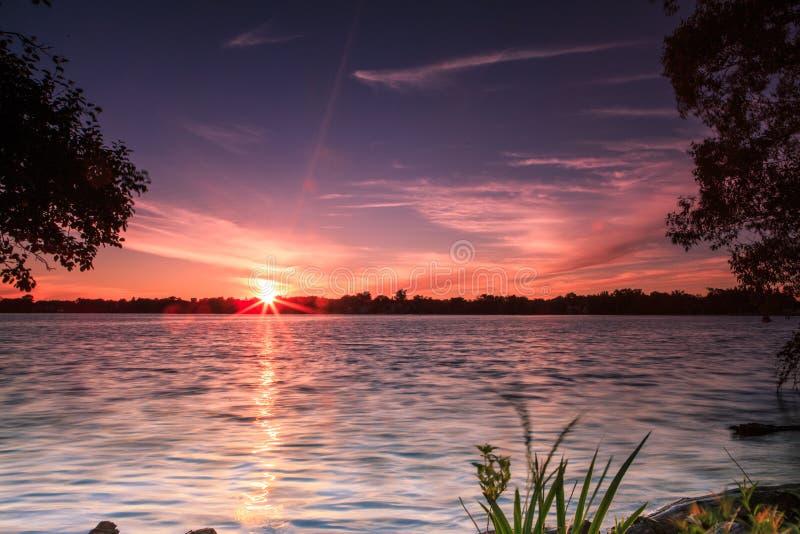 Lago Wilcox Richmond Hill sunset imagem de stock