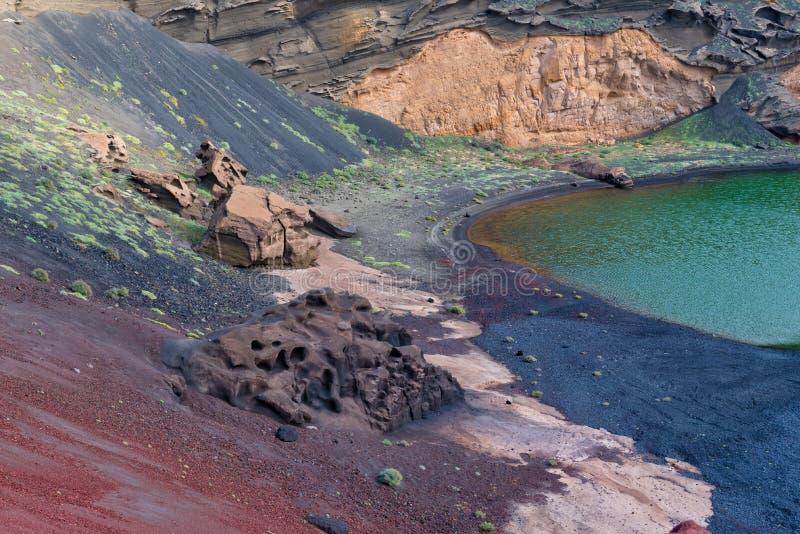 Lago y acantilados, Lanzarote, España el Golfo foto de archivo libre de regalías