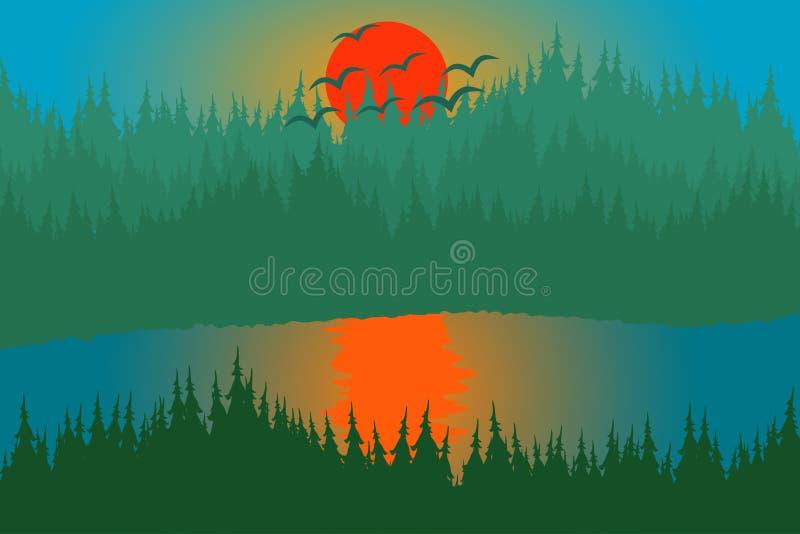 Lago y colina del bosque de la puesta del sol imágenes de archivo libres de regalías
