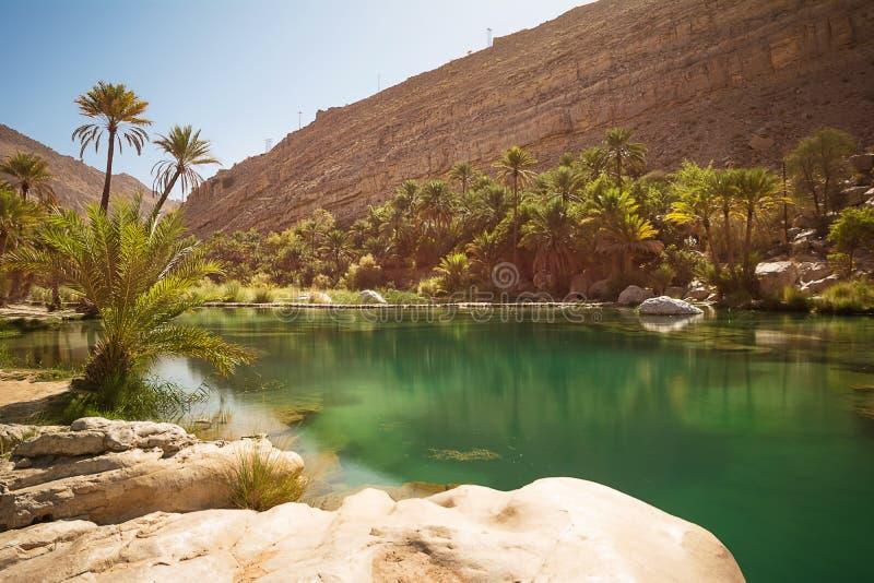 Lago y oasis que sorprenden con las palmeras Wadi Bani Khalid en el desierto imagenes de archivo