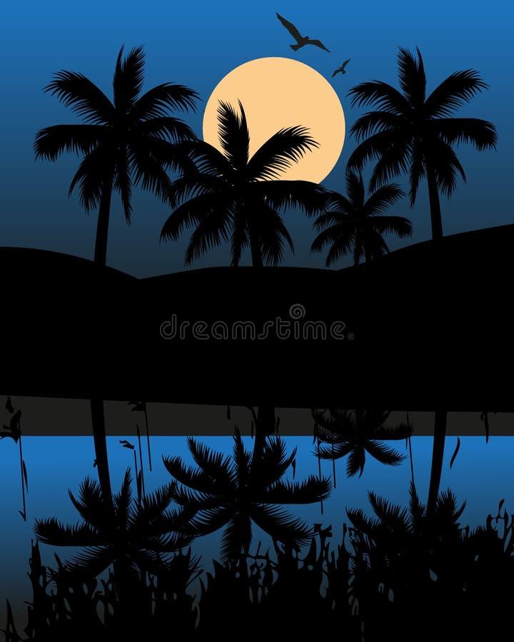 Lago y una montaña en la noche stock de ilustración