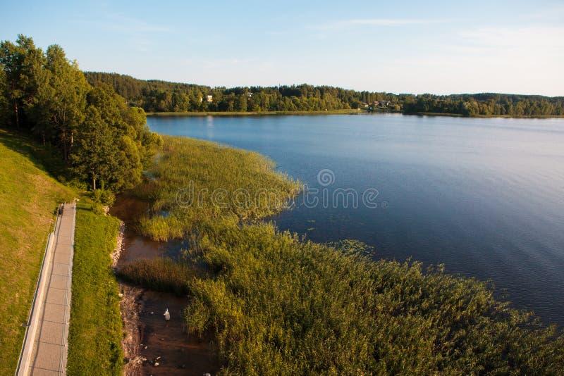 Lago Zarasas na cidade de Zarasai, Lituânia foto de stock royalty free