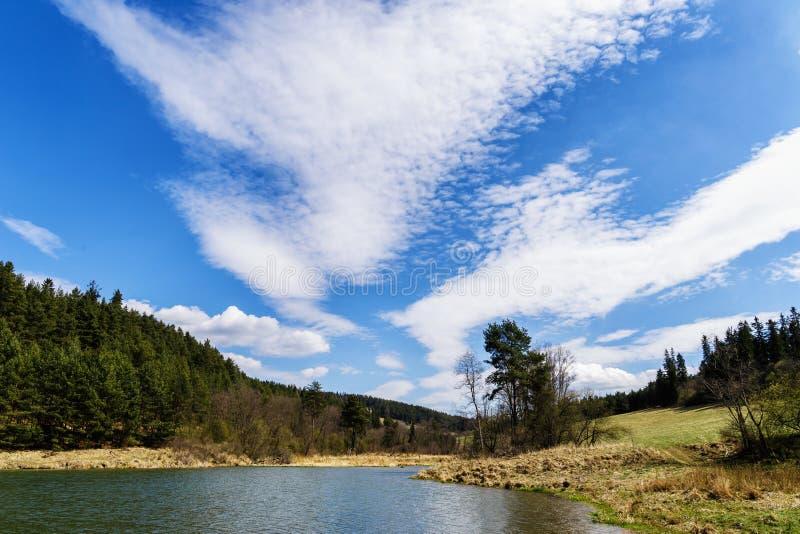Lago Zlatna cerca de la ciudad de Kezmarok, Eslovaquia en tiempo de primavera fotografía de archivo