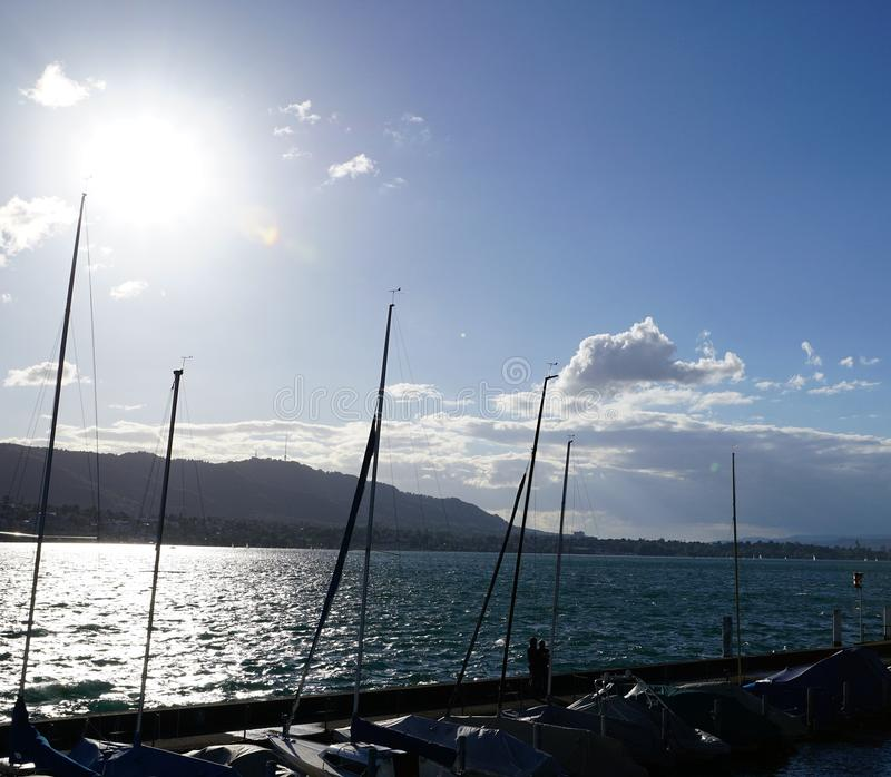 Lago Zurich Kuesnacht fotografía de archivo