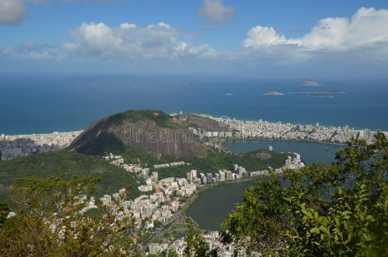 Lagoa,博塔福戈海滩,里约热内卢,天空,海角,海岸,登上风景 库存图片