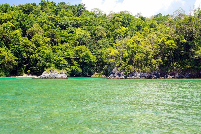 Lagoa azul em Portland, Jamaica fotografia de stock