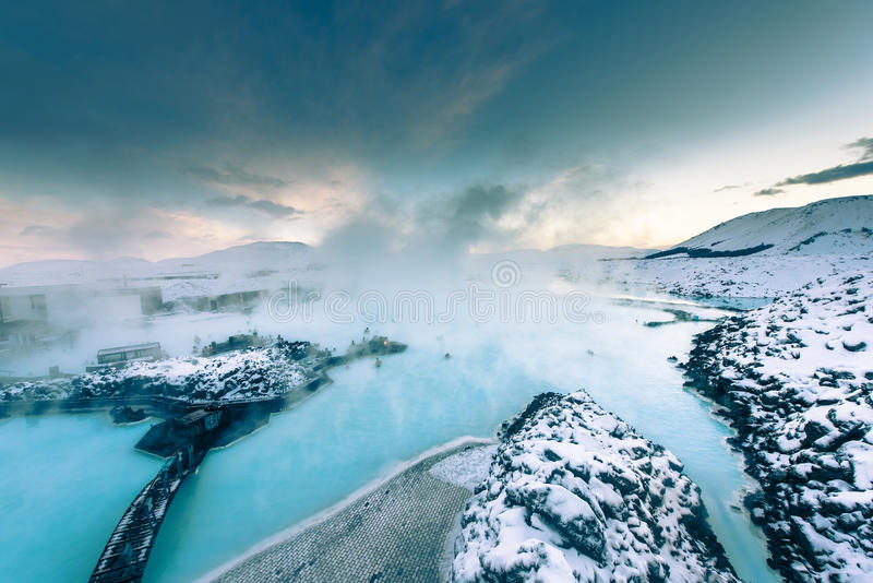 A lagoa azul famosa perto de Reykjavik, Islândia imagem de stock royalty free