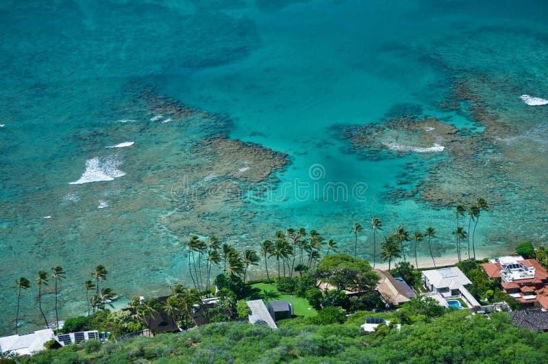 Lagoa azul, praia de Havaí, Waikiki fotos de stock