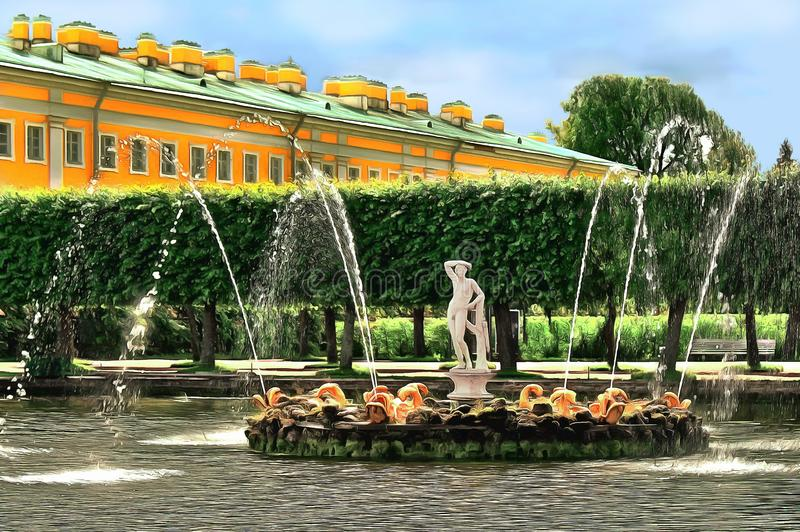 Lagoa com uma fonte decorada pela figura de Apollo imagem de stock royalty free