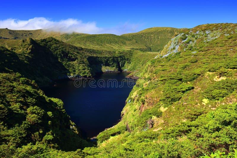 Lagoa Comprida - il lago lungo in inglese, isola del Flores fotografia stock libera da diritti