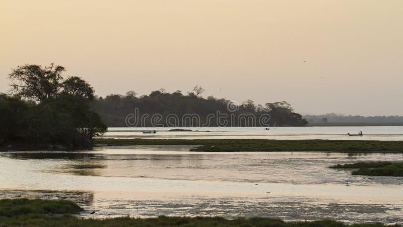 Lagoa da baía de Arugam, paisagem em Sri Lanka no por do sol fotos de stock royalty free