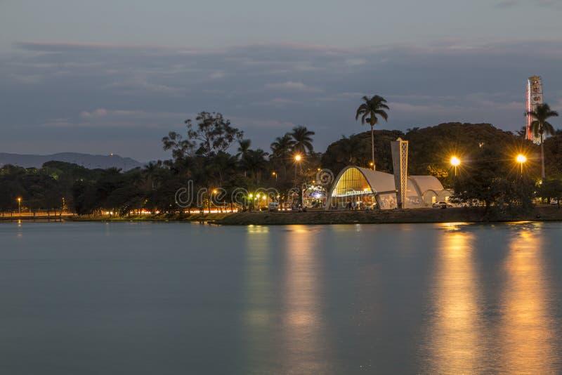 Lagoa da Pampulha (Pampulha湖) -贝洛奥里藏特/MG -巴西 免版税库存照片