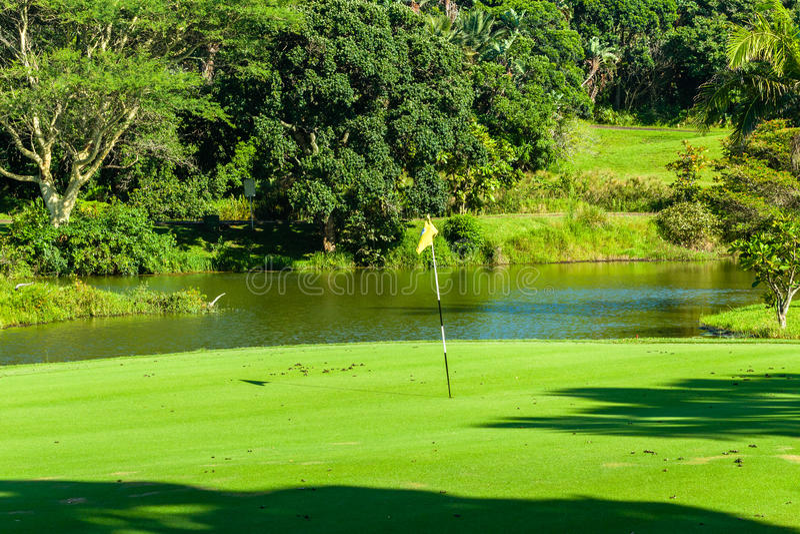 Lagoa de água do verde do furo do golfe imagens de stock