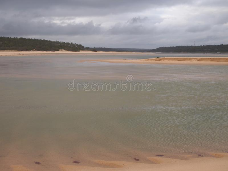 Lagoa de Albufeira Albufeira lagoon, a natural reserve in Costa da Caparica, Portugal. The Lagoa de Albufeira lagoon, nearby Lisbon, is protected as an royalty free stock image