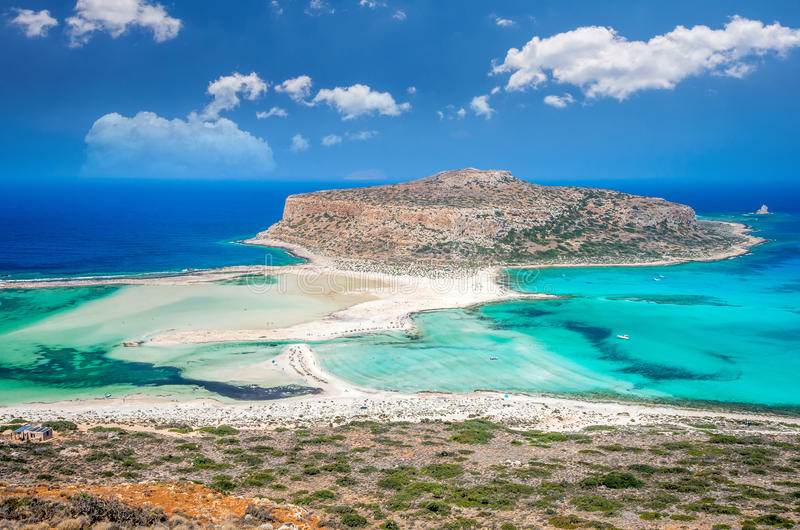 Lagoa de Balos na ilha da Creta, Grécia fotos de stock