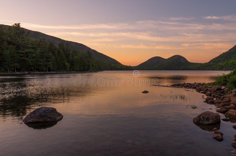 Lagoa de Jodan no por do sol imagem de stock